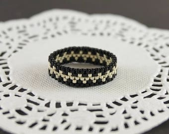Silver ring Sterling silver jewelry Silver band ring Silver and black ring Gothic ring Boho ring Victorian ring Black Gift For Girlfriend