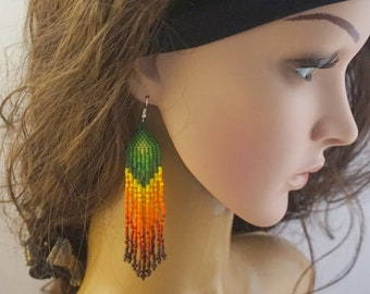 Beaded earrings with fringe Carmine earrings Dangle earrings Orange earrings Green jewelry Clover earrings Beadwoven earrings Gifts under 30
