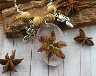 Rose necklace Resin jewelry Fall necklace Love Gift|For|Women Silver Fox jewelry Dainty necklace Pink flower necklace rosebud Gift for her