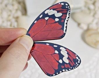 Butterfly Statement Earrings Silver, Ruby Red Butterfly Heart Earrings, Homemade Trendy Dainty Earrings, Boho Drop Butterfly Earrings Wings