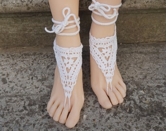 32cad41d9420f5 Beach wedding sandals bridal barefoot crocheted sandals Dainty summer  anklet foot jewelry legwear white lace bridesmaid beach anklets