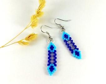 Small earrings Navy blue earrings Sky blue Wedding jewelry Blue elvish jewelry Evening earrings Prom earrings Thank you Gift for sister