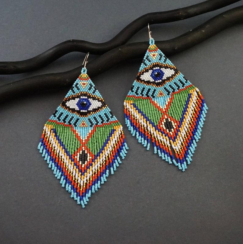 Oversized Earrings XL Evil Eye / Statement Earrings Extra image 0