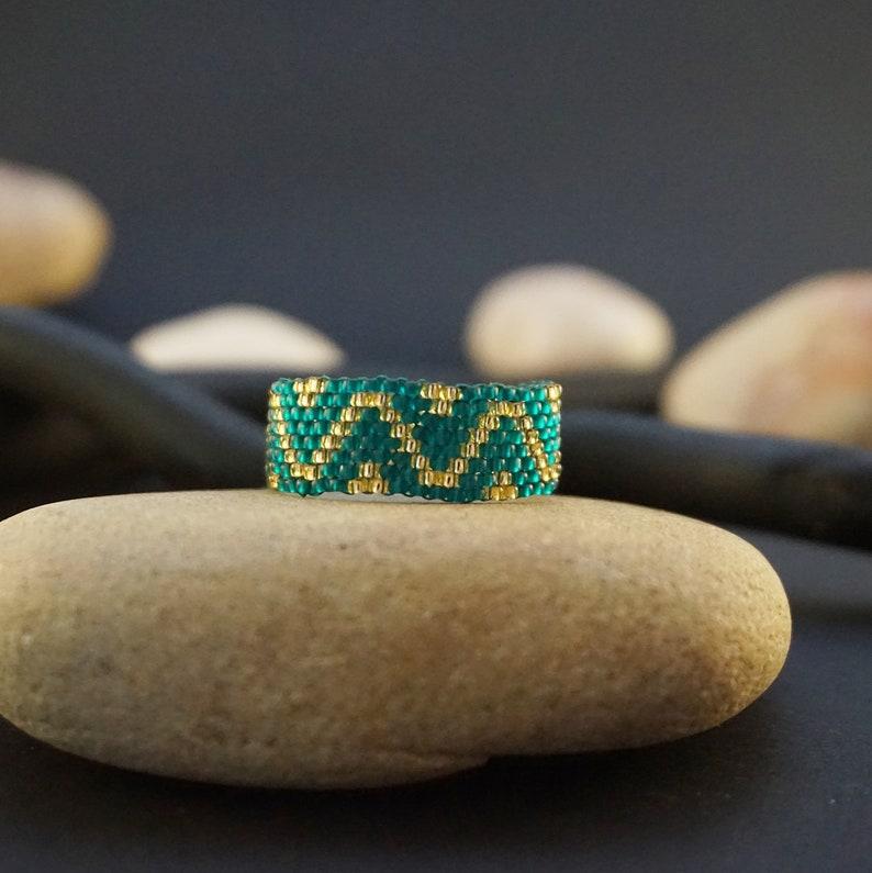 Beaded rings for women Boho ring Bohemian ring Thin ring image 0