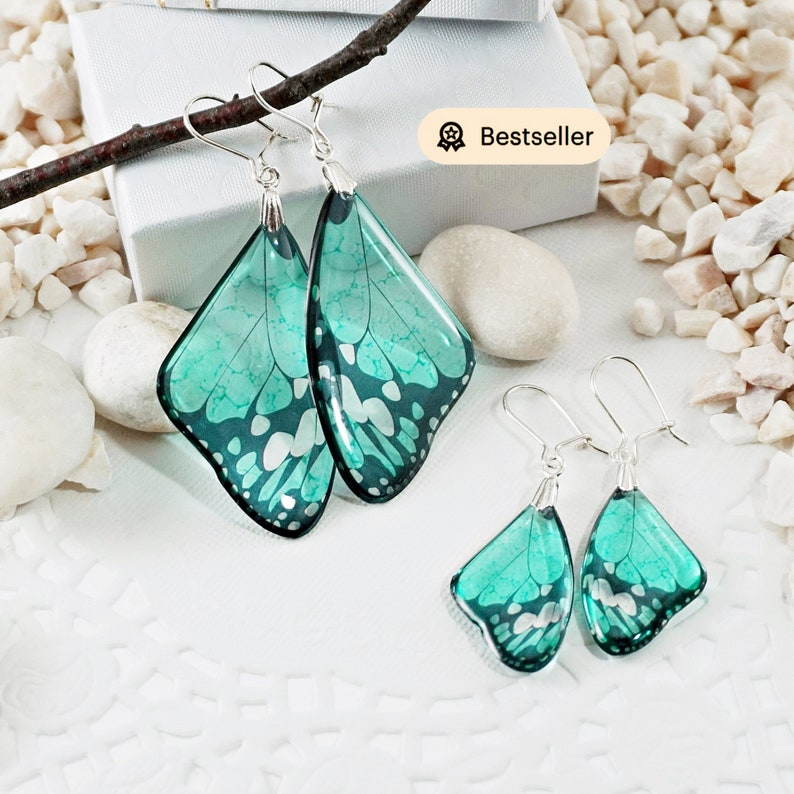 Turquoise Earrings Butterfly Gift For Her Statement Earrings image 0