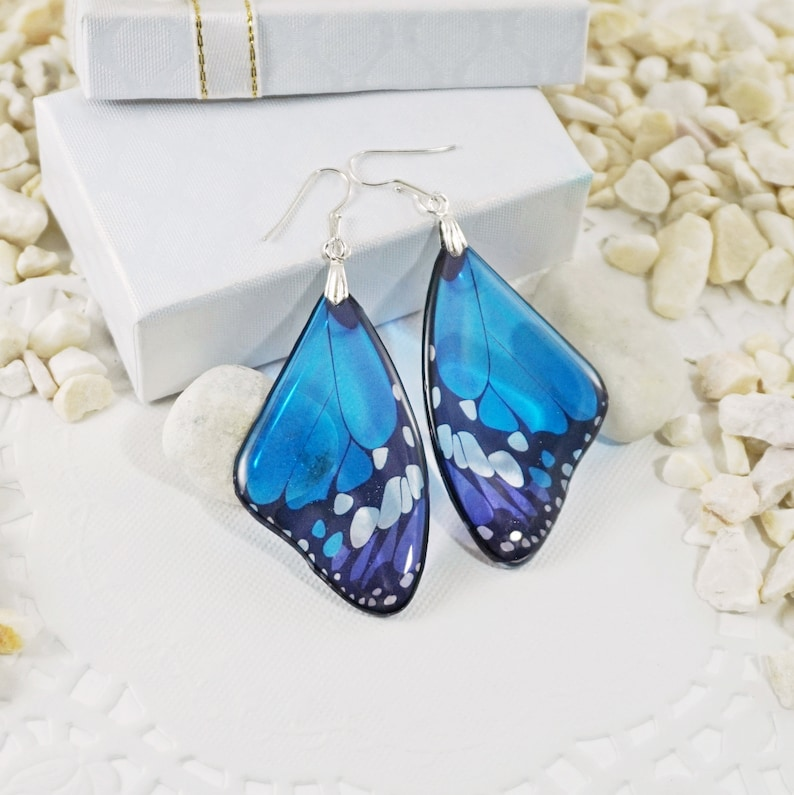 Blue Butterfly Earrings 11 COLORS Bohemian Earrings Butterfly image 0