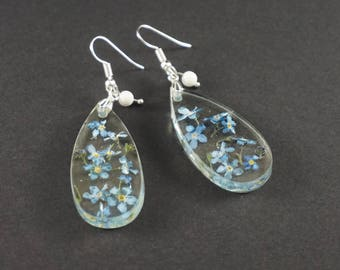 Gift|for|girlfriend Forget me not Blue drop earrings Flower earrings Large drop earrings Crystal earrings Dainty earrings Nature earrings
