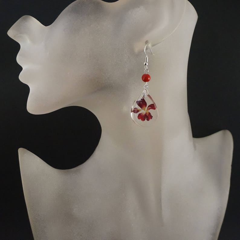 Real flower necklace for women Nature necklace Pressed flower resin necklace Nature jewelry gift Real flower jewelry red flower jewelry set