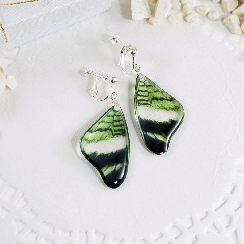 Lime Green Butterfly Earrings Dangle Clip On Butterfly Wing image 0