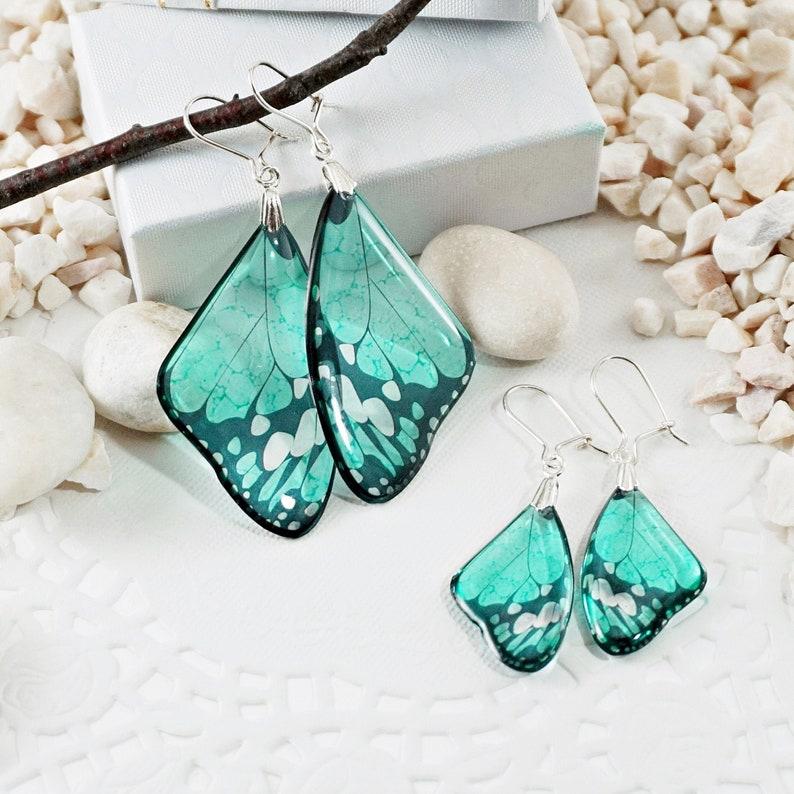 Butterfly Earrings Turquoise Wedding Bridal Earrings image 0