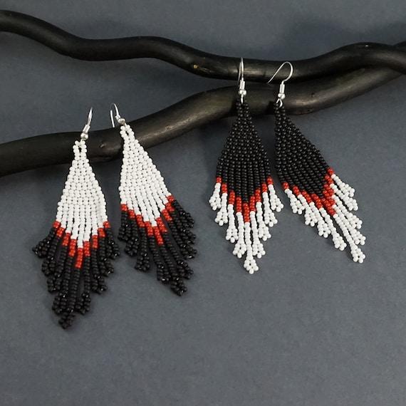 Lightweight statement earrings Black and red beaded earrings Modern art earrings