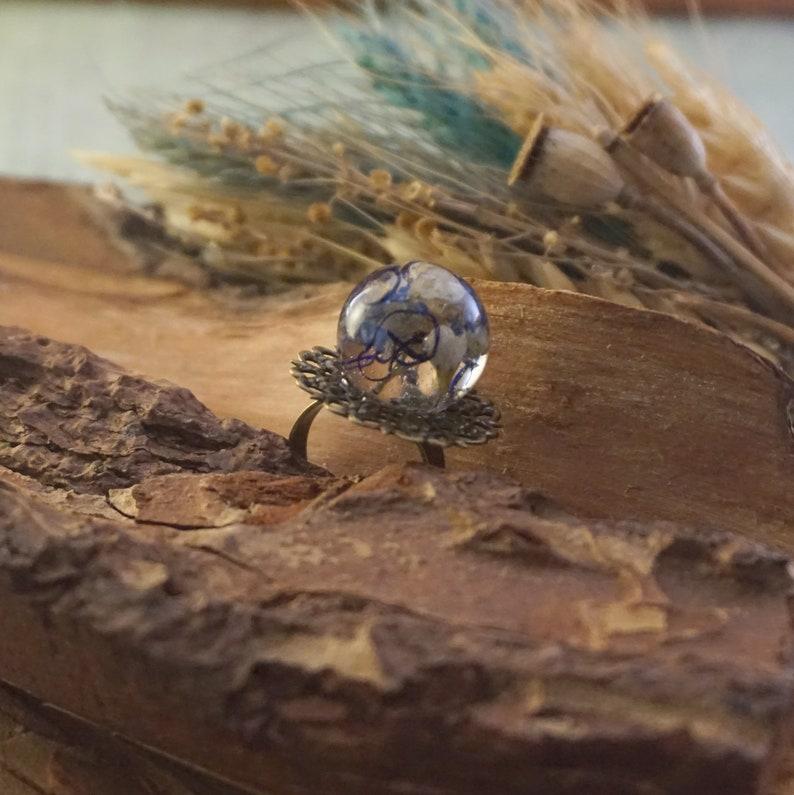 Real flower ring Resin ring flower Adjustable rings Terrarium ring Floral ring Glass globe ring bronze filigree ring Nature rings for women