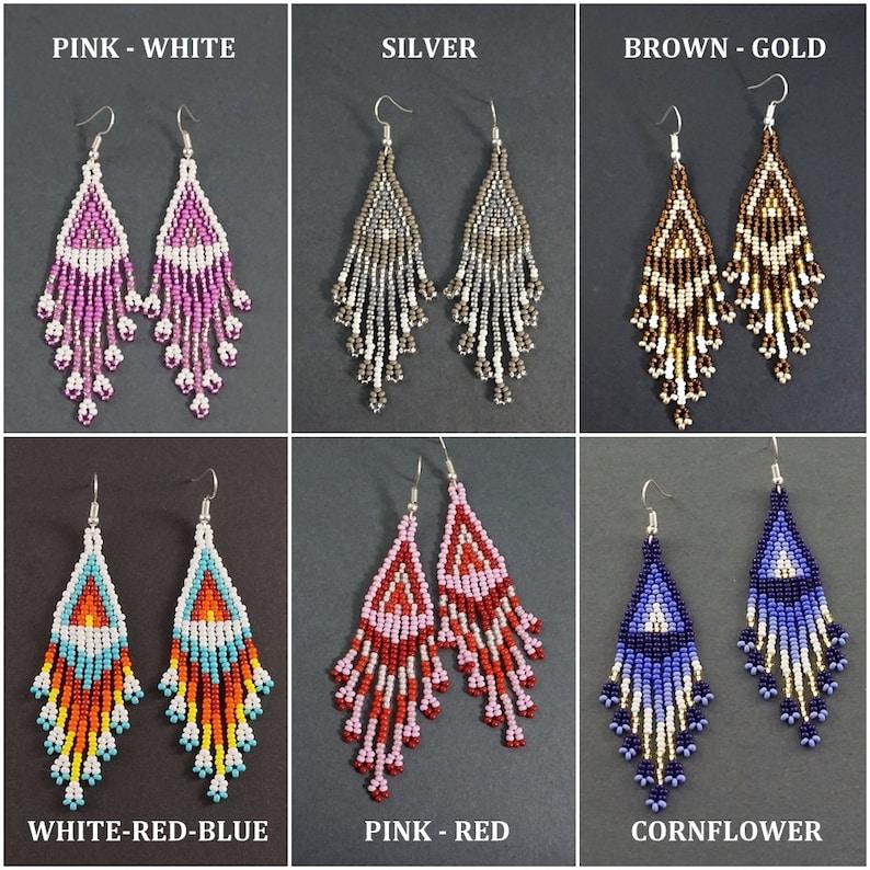 Statement Beaded Earrings Cornflower Blue Boho Earrings Long Dangle Earrings Dainty Seed Bead Navy Blue Gold Tassel Bohemian Jewelry