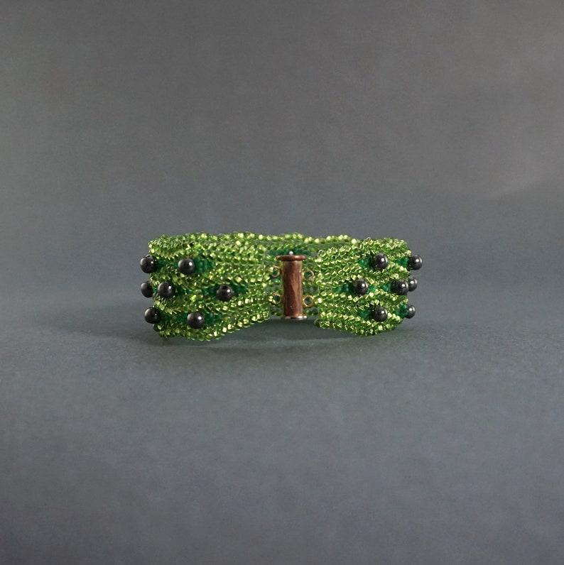 Nature Greenery Bracelet Hematite Dainty Boho Cuff Bracelet Green Beaded Unique OOAK Bracelet Seed Bead Woven Peridot Green Jewelry