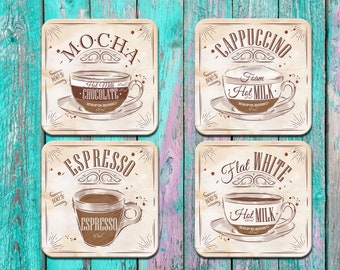 Coffee Coaster Set, Mocha Cappuccino Furniture Drink Coaster Set, Housewarming Present, Wedding Gift Home Decor, Gift for Her, Coffee Lover