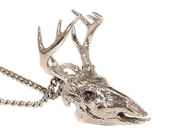 Hunting Jewelry Antlered Buck Deer Skull Necklace Bronze White Bronze Silver Deer Skull 3d Printed Deer Head