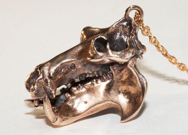 Nilpferd Schädel Halskette Nilpferd Schmuck Biologie   Etsy