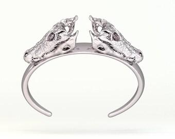 Skull Bracelet - Skull Jewelry - 3D Printed Bracelet 3D Printed Bronze Sterling Silver