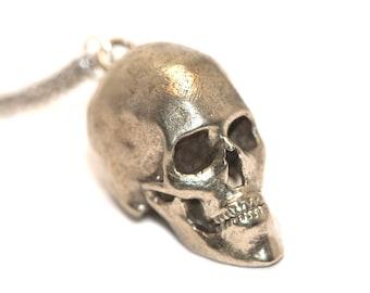 Human Skull Necklace - Human skull necklace - 3D Printed from CT Scans Bronze White Bronze
