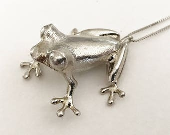 Frog Pendant - Frog Jewelry - Animal Necklace 3D Printed Bronze Sterling Silver