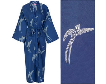 Kimono Dressing Gown - Cotton Kimono Bathrobe for Women - 100% Organic  Cotton - Blue Cotton Robe - Women s Bathrobe - Kimono Robe Yukata ea423cda5
