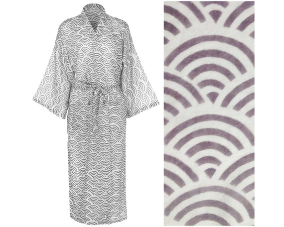 Kimono Robe Dressing Gown Light Cotton Hand Printed Fabric  f99fa3ded