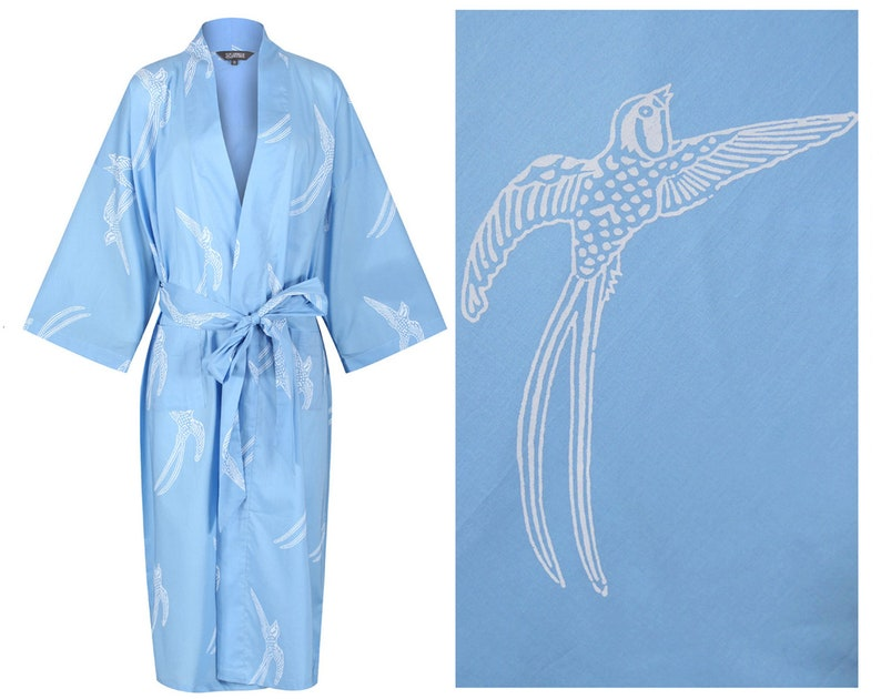 KIMONO NEW Robe Ladies Dressing Gown. Long Tailed Bird on  d698d23bd
