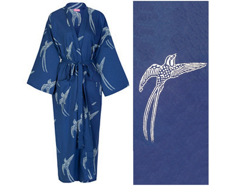 4fbc42dd9a Kimono Dressing Gown - Cotton Kimono Bathrobe for Women - 100% Organic  Cotton - Blue Cotton Robe - Women s Bathrobe - Kimono Robe Yukata