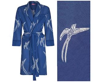 Men's Cotton Dressing Gown - Lightweight Robe - Dark Blue Bird Pattern Robe - Male Bathrobe - 100% Organic Bathrobe Yukata - Kimono for Men