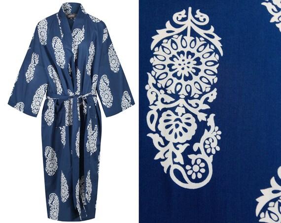 Kimono Dressing Gown Cotton Kimono Bathrobe for Women 100%  a4d804c76