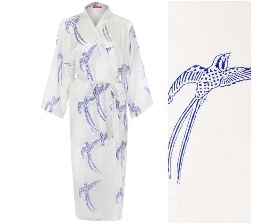 Kimono Robe Cotton Dressing Gown Lightweight Bathrobe for | Etsy