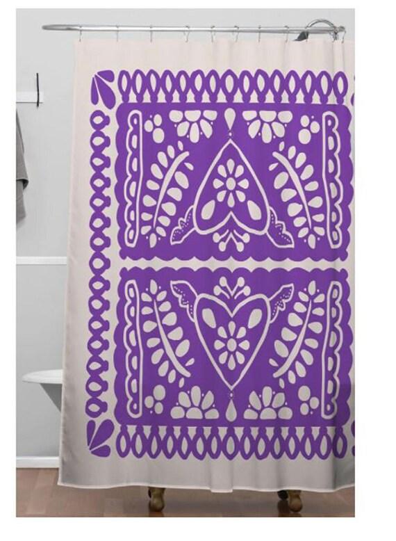 Shower Curtain Fiesta De Corazon Purple White Mexican