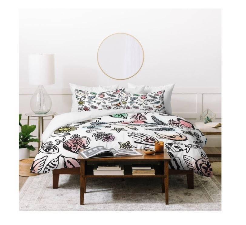 Housse de couette Milagros mexicaine literie, noir et blanc, sud-ouest, mexicain charmes, literie, couette, décor de chambre à coucher, conception de lit, appartement