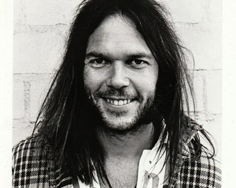 Neil Young (circa 1973) Official 1990s Reprise Records 8x10 b/w Press Photo