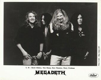 Megadeth Full Band Press Photo 1997 Promotional Only 8x10 B&W Horizontal Shot