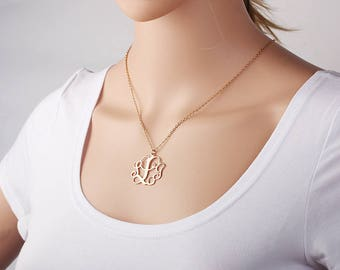 Personalized Monogram Necklace - Initial Name Charm - Monogram Jewelry - Monogram Name Pendant - Initial Necklace in Rose gold, Silver, Gold