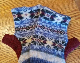Upcycled Wool Fingerless Mittens - medium