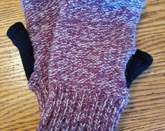 Upcycled Wool Fingerless Mittens - Large