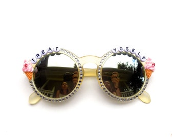 Treat Yoself! Decorated Sunglasses by Baba Cool | funky embellished festival sunnies