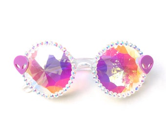 Alien kaleidoscope glasses by Baba Cool | embellished diffraction glasses with pink aliens | funky festival eyewear