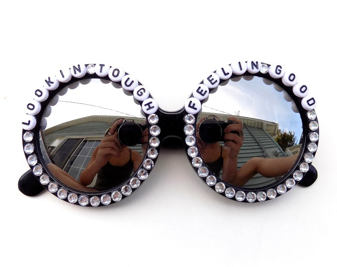 "Slight Damage ~ Discounted Final Sale AS IS ~ ""Lookin' Tough Feelin' Good"" Turkuaz decorated sunglasses by Baba Cool"