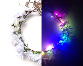More Colors! LED daisy flower crown in rainbow, purple, pink, OR red, LED rave flower halo perfect for your Halloween costume! Fairy lights!