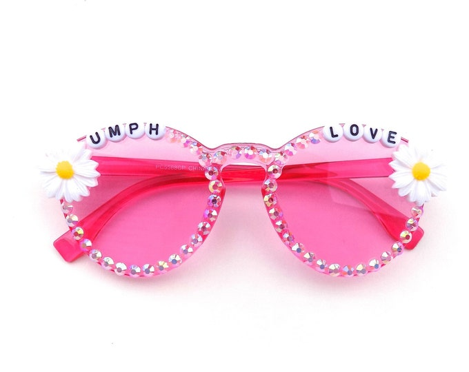"""Umphrey's McGee """"Umph Love"""" decorated pink glasses by Baba Cool 