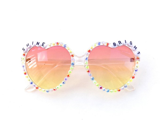 "Decorated ""Shine Bright"" heart-shaped sunglasses by Baba Cool 