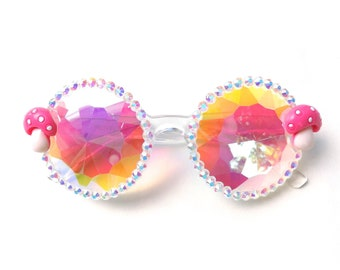 Shroomies kaleidoscope glasses by Baba Cool | embellished diffraction glasses with mushrooms | funky festival eyewear