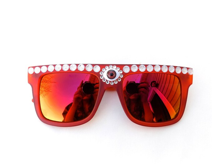 Embellished third eye sunglasses | psychedelic red bedazzled shades with jewels | music festival sunnies