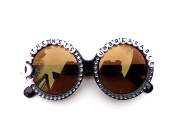 """Phish ~ Mercury """"The Nets Unbreakable"""" decorated sunglasses by Baba Cool   funky embellished festival shades   Don't worry about falling!"""