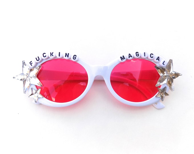 F*cking Magical decorated sunglasses by Baba Cool | For unicorn queens everywhere ~ embellished festival sunnies ~ you are magical!