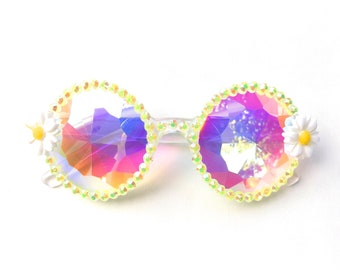 Daisy kaleidoscope glasses by Baba Cool | embellished diffraction glasses with daisies | funky festival eyewear
