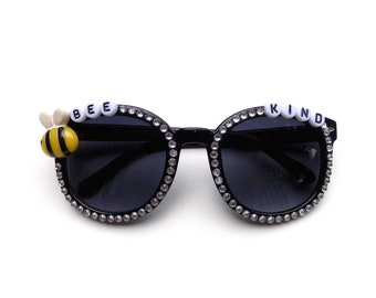 "Children's ""Bee Kind"" decorated sunglasses by Baba Cool 